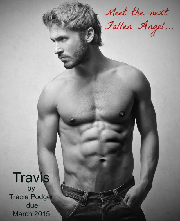 A photo of a shirtless young man representing the hero in an upcoming erotic romance-suspense novel, Travis, by author Tracie Podger