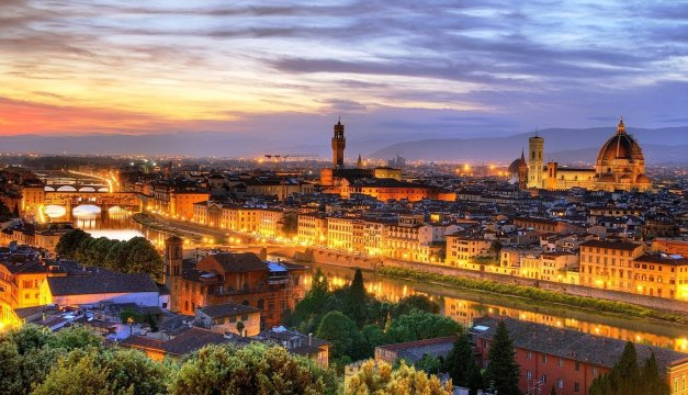 photo of the Florence cityscape at dusk