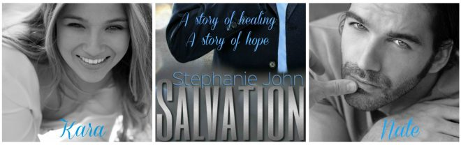 A photo collage of a man and woman with the cover of the contemporary romance novel, Salvation, by author Stephanie John