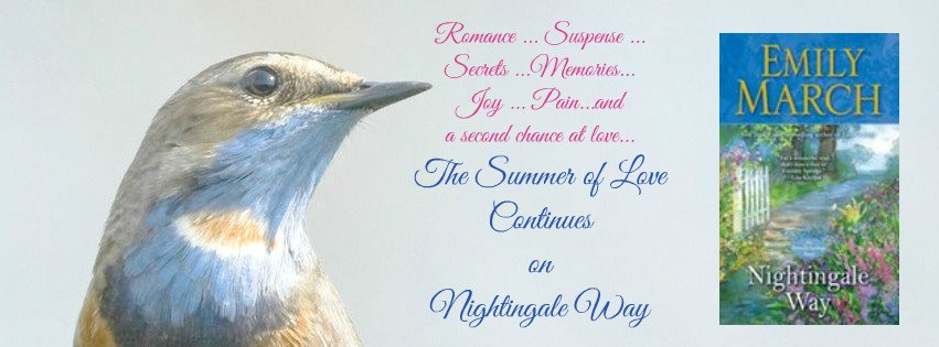 Social media size banner featuring a photo of a nightingale and the cover of Nightingale Way, a contemporary romance novel by Emily March