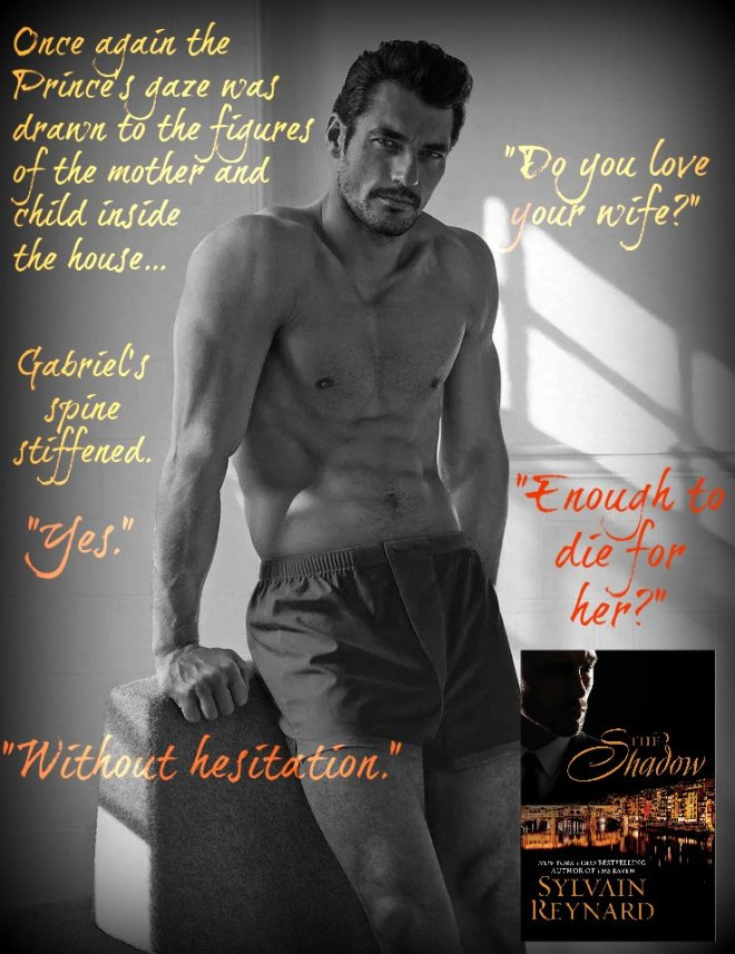 Photo of David Gandy, with a quote from The Shadow, by Sylvain Reynard