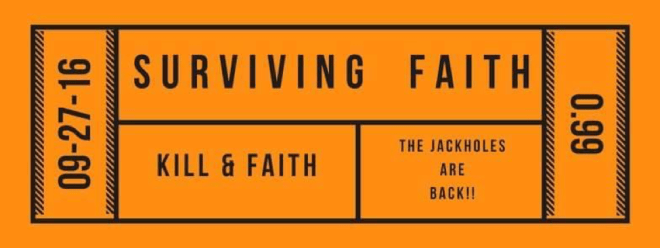 Image of a ticket to read Surviving Faith by Joy Eileen