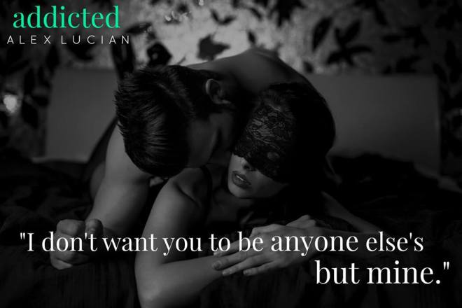 B&W photo of an intimate couple with a quote from Addicted by Alex Lucian