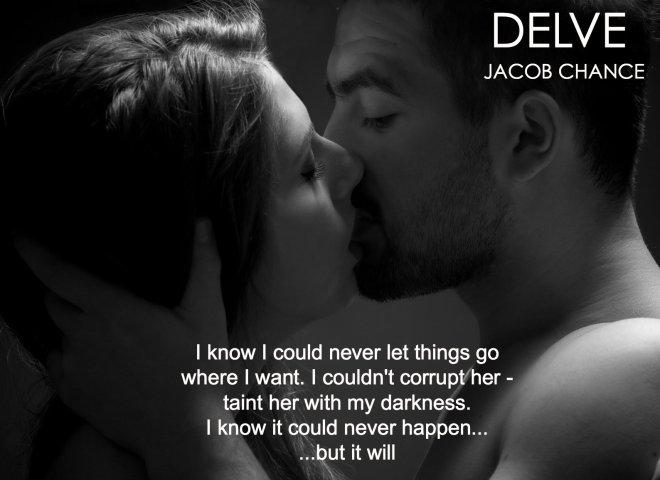 A B&W photo of a couple kissing, with a quote from DELVE, by Jacob Cjance