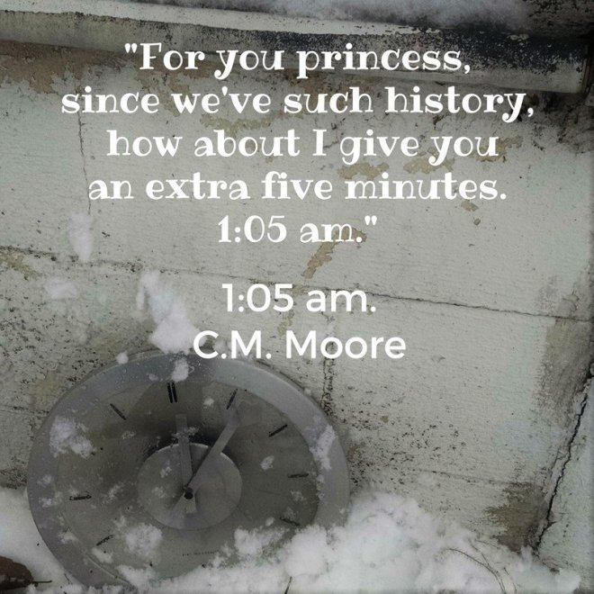 Photo teaser with a quote from 1:05 AM by C. M. Moore
