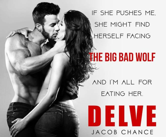 Teaser quote with a photo of a couple in a passionate embrace, from DELVE, by Jacob Chance