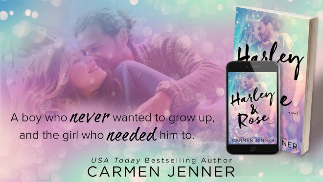 Promo banner with a quote and the book cover of Harley & Rose by Carmen Jenner