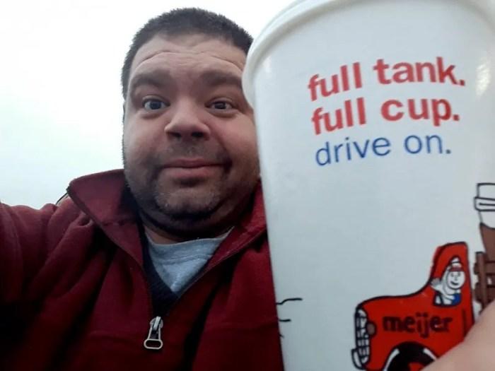 paul drinking a coffee