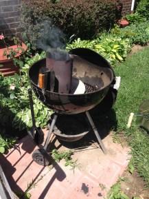 Lighting the coals