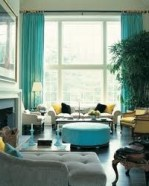 decorating with blue, fabrics, cushions, curtains