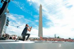 Joel Houston of Hillsong United in front of the Washington Monument