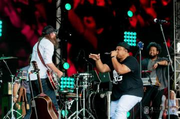 David Crowder performing live with Tedashii at the Together 2016 gathering on the National Mall in Washington, D.C.