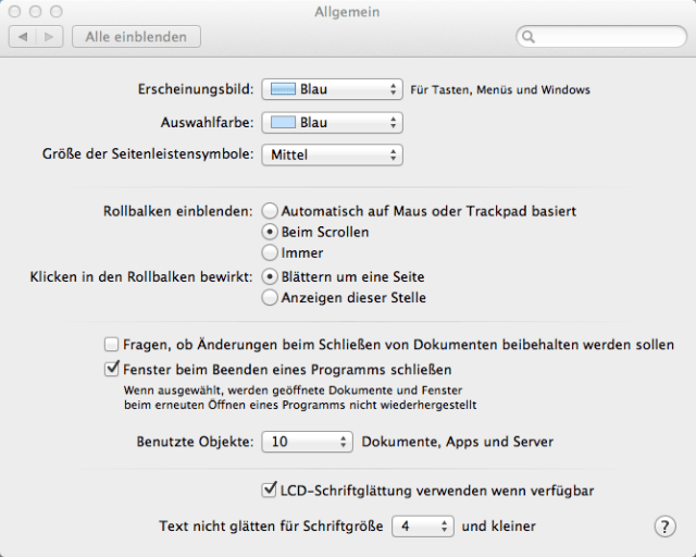 Scroll-Einstellungen von OS X 10.8.4