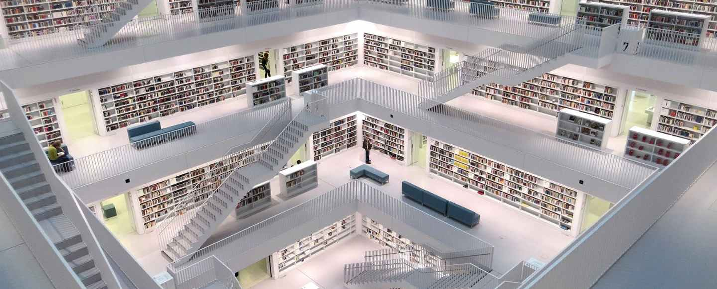 Picture of a library with stairs