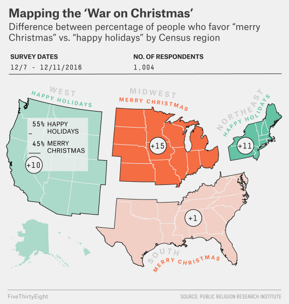 fivethirtyeight.com: Where To Say 'Merry Christmas' vs. 'Happy Holidays' — 2016 Edition