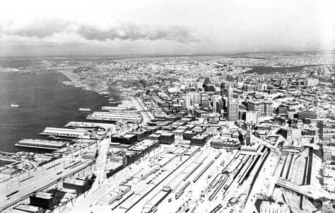 The Big Snow of 1950 looking north from above over the old railroad yards and the Central Business District to the north end.  (Courtesy Seattle City Archive)