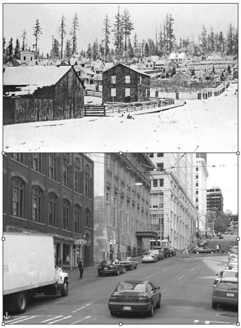 The earliest surviving snow photo of Seattle from ca. 1875 looking east on Cherry Street from First Avenue, which was then still known as Front Street