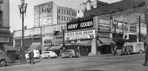 THEN: At Warshal's Workingman's Store a railroad conductor, for instance, could buy his uniform, get a loan, and/or hock his watch. Neighbors in 1946 included the Apollo Cafe, the Double Header Beer Parlor, and the Circle Theatre, all on Second Avenue.