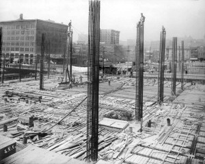 THEN: In the older scene daring steel workers pose atop construction towers during the 1910 building of the Union Depot that faces Jackson Street.