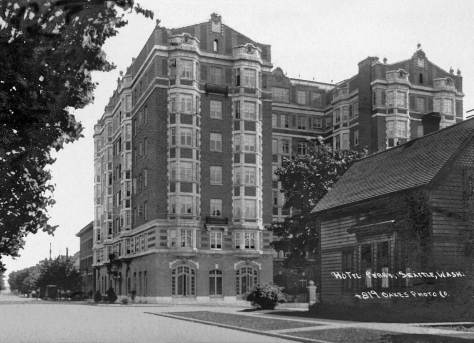 """THEN: The Perry Apartments is nearly new in """"postcard artist"""" M. L. Oakes look at them south on Boren to where it intersects with Madison Street. (Courtesy John Cooper)"""
