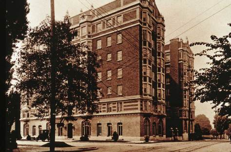 Perry Hotel, ca. 1912.  View looks west on Madison Street across Boren Avenue.