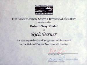 The Robert Gray Award from the Washington State Historical Society