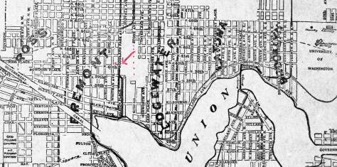 Late 1890s map of Seattle north of Lake Union.
