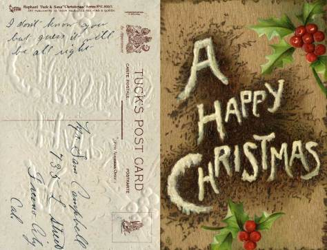"""A textured & embossed card from Tuck's Post Card, again, (""""art publishers to their magesty the King and Queen""""), it has been """"chromographed in Bavaria"""""""