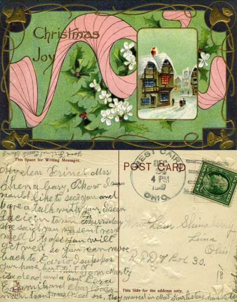 This lovely card was printed in Germany.  The postmark is smudged but it most likely is dated 1910.