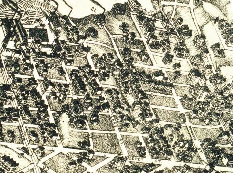 Cascade neighborhood detail from the 1891 Birdseye View of Seattle.  Depot renamed Denny Way runs along the bottom border.  Lake Union at the top.  Rollins now Westlake is on the far left.  Near the center a ravine runs north-south from Thomas Street to Lake Union.  The big house hanging there above the east (right) right side of the ravine is near the northeast corner of Minor and Thomas.
