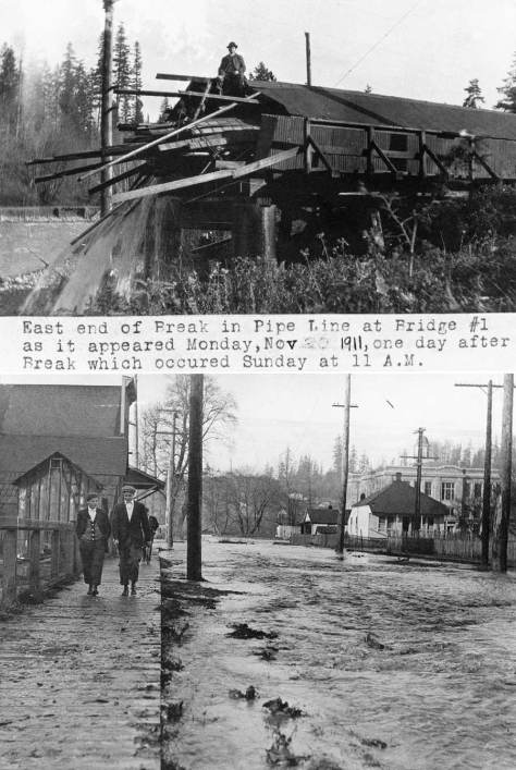 The 1911 wash out of the Cedar River pipeline, on top, and the flooding of Renton from the same incident.