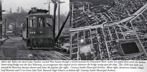 The West Seattle Bridge with the primary supply of Cedar River water to the West Seattle neighborhood running across it through the pipe on the right of the trolley photo on the left.  On the right, an aerial of the Roosevelt neighborhood reservoir with a touch of east Green Lake at the top.