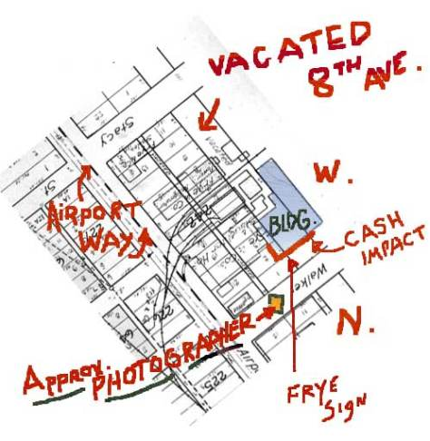 The map we assemble to determine the propert prospect from which to repeat the crash into the northwest corner of the Frye Packing plat at the corner of Walker and 9th Ave.