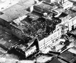 The damage seen from the sky.  The view looks to the southeast.