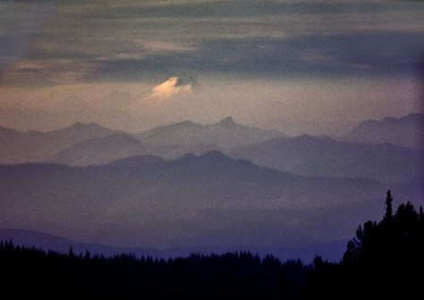 This, among other things, is, I believe, Mt. Baker from the somewhere south at sunset.  Someone who knows the mountain topography between Arlington and the Canadian border may recognize one or another of those several ridges.  Again, like most of Horace Sykes this slide was neither dated nor named.