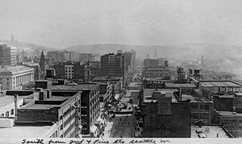 The look south.  Built quickly  in 1911, the Hoge building at Second and Cherry is not evident.