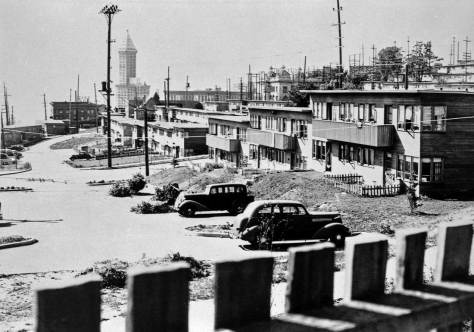 An early look across Yesler Terrace when the landscaping was still new and low.