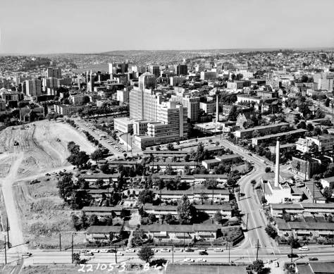 Part of the Yesler Terrace neighborhood in 1964 when work on the Seattle Freeway was still underway far left.