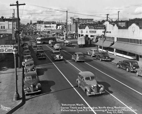 We conclude by getting off our own Third Avenue and visiting Vancouver, Washington's 3rd at Washington Street, circa 1942.