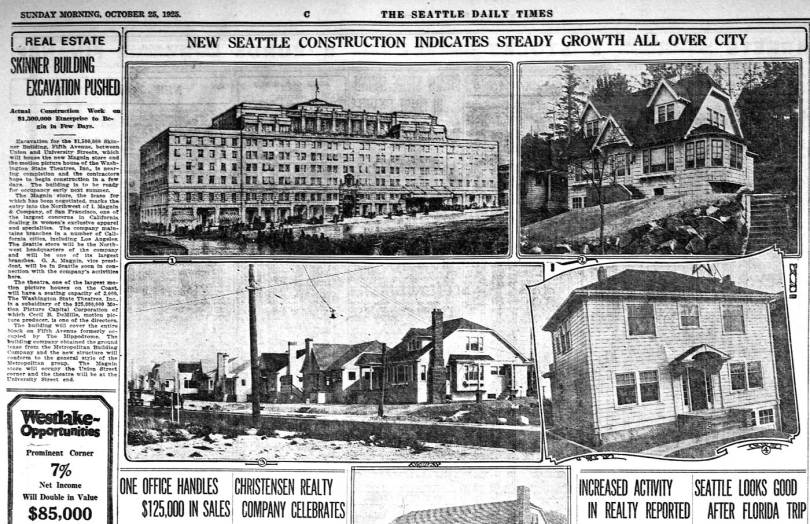 One more detail from the same Times page for Oct. 25, 1925. Here Time's real estate editors have chosen a few example of the city's progress in construction. The Skinner Building (on 5th between University and Union, east side) gets its own essay to the left. The surviving theatre/sales/office building was designed by architect Robert C. Reamer, whose other local accomplishment include The Seattle Times building on Fairview, the Deca Hotel (originally the Meany) in the University District, the Fourth Avenue Building, northwest corner with Union, the Quinault Lodge (where I have the greatest meal of my life largely cause I was famished from hiking through the Olympics for a week (in 1969), and the Fox Theatre in Spokane where I saw Broken Arrow three times in 1950. (My pop knew the theatre manager.) The other number structures of the real estate montage include, No.2, Paul Lattner residence on Lake Park Drive, No.3, a group of new residences near the intersection of 14th Ave. NE and Victory Way (I think that is now Lake City Way, but I may be wrong.) No. 4, residence at 914 Epler Blace built by F. J. Davidson and sold to Charles Cohen.