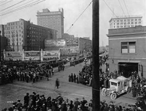 THEN: Where last week the old Washington Hotel looked down from the top of Denny Hill to the 3rd Ave. and Pine St. intersection, on the left, here the New Washington Hotel, left of center and one block west of the razed hotel, towers over the still new Denny Regrade neighborhood in 1917. (Historical photo courtesy of Ron Edge)