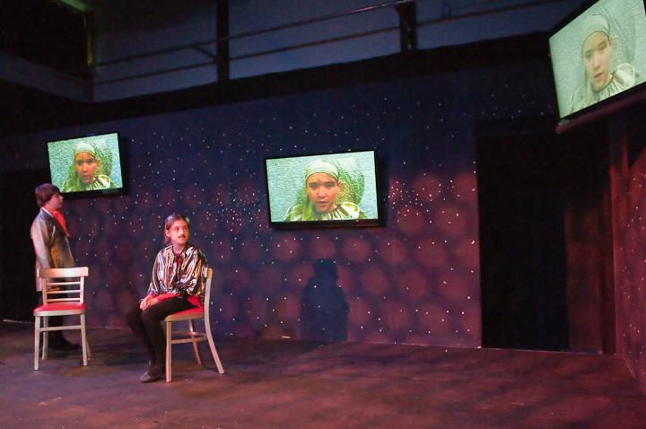 Duke Orsino and Viola watch Feste perform 'Come away, Death' in triplicate