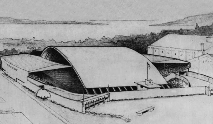 """Perhaps, expecting a miracle, this sketch of a proposed Memorial Stadium covering appeared in the April 1, 1951 edition of The Seattle Times. The caption reads in whole, """"STADIUM ROOF SUGGESTED. The High School Memorial Stadium would resemble this architect's sketch under a proposal by the Greater Seattle Gospel Crusade Inc. The proposed high, arching wooden roof would cost about $100,000. The gospel group is prepared to spend $30,000 for a canvas cover for use during next summer's appearance in the stadiumof Billy Graham, evangelist, and would contribute the $30,000 toward construction of a permanent roof, representatives told the School Board. The board indicated no objections to the project, but pointed out that no school funds were available."""