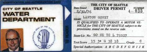 Lawton Gowey's Water Dept Card (one of them - copied 1983)