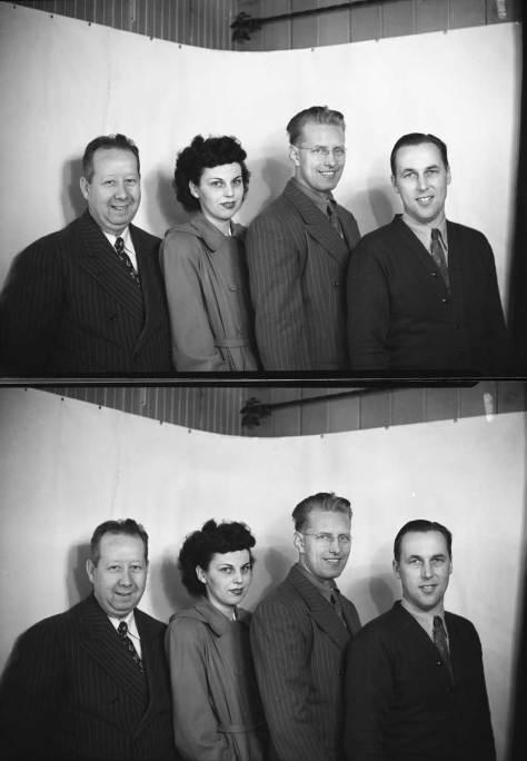 Four members of the Aurora Commercial Club posing - twice.