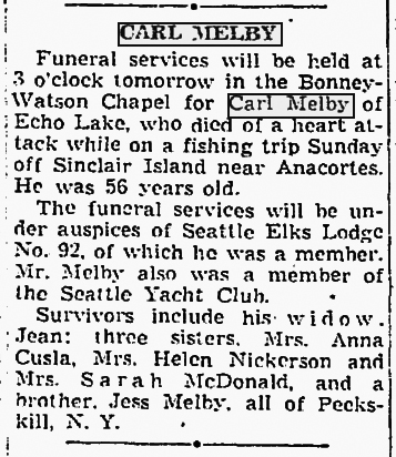 Carl Melby hooks his mortality.  Seattle Times Dec. 8, 1942