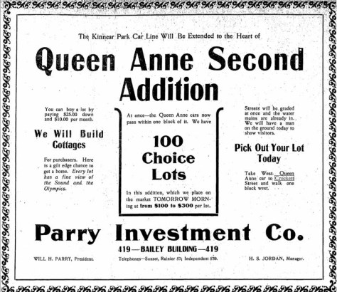 A Seattle Times adver for a nearby Queen Anne Addition, Jan. 10, 1904