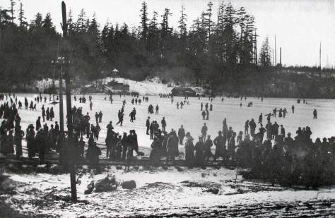 Skating on Green Lake in 1903.  The forest on the far shore is part of Woodland Park, the destination for the Baptists that were squeezed in the run-away street car on 35th Street at Albion Pl.