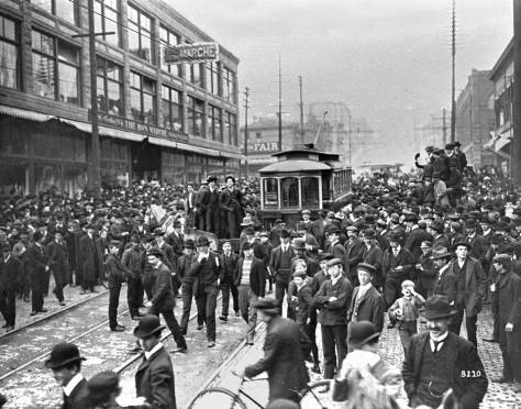 Scene from the 1903 trolley strike.  The Bon Marche was then located at the southwest corner of Second Ave. and Pike Street. So this looks north on Second from near Union.