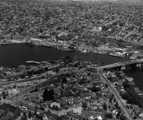 The Latona watefront ca. 1952, with Green Lake on top.